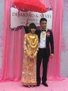 广东中山现豪华婚礼 新娘身挂70个金手镯